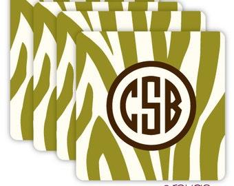 ZEBRA coasters with custom monogram - set of 4