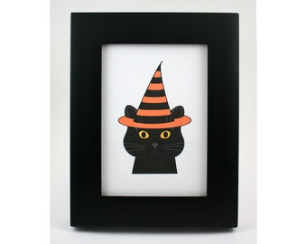 Halloween cat print, digital art, black cat, chat, gato, witch hat, yellow eyes, illustration, smiling cat, graphic wall art, cat lover