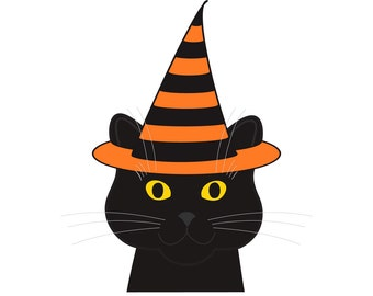 Halloween Cat Cards, witch hat, black cat, note card, graphic illustration, smiling cat lover, yellow eyes, blank greeting card, chat gato