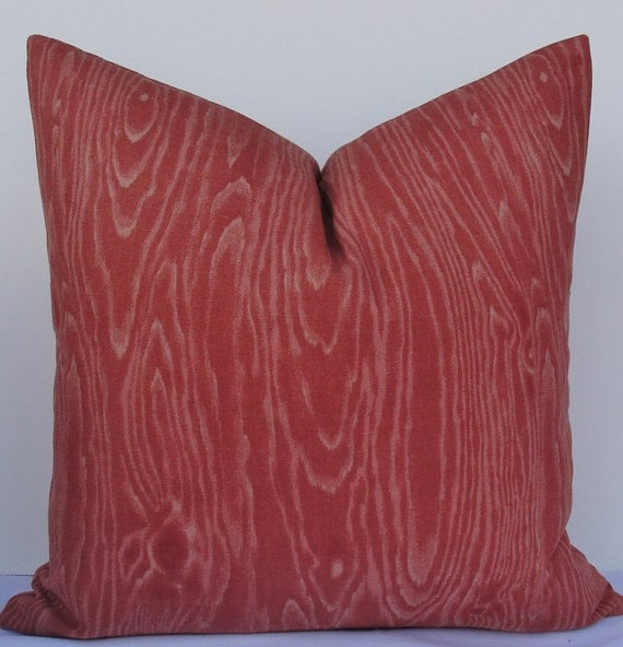 Modern paprika rust red woodgrain decorative pillow cover