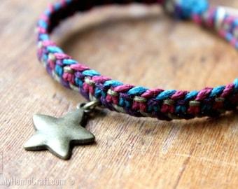 Macrame Hemp Bracelet, Cosmic Bohemian Star Bracelet, Eco Friendly Jewelry