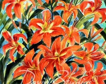 Orange Day Lilies - Orange day lilies signed giclee art print of original watercolor painting