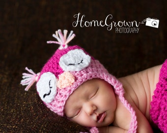 Newborn Owl Hat, Sleepy baby owl hat, Girl Hat,crocheted earflap hat, animal hat for babies, toddlers, child, tween, teen, adult