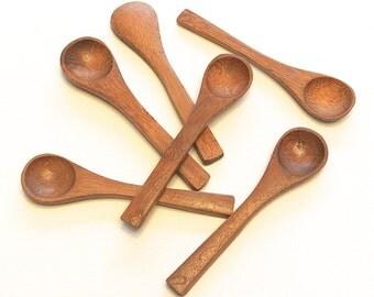 "6 Mini Bamboo Wood Spoons- 3.5"" Mini Wooden Demitasse Spoons for Honey & Bath Salt, DIY Favors, Salt, Spices, Seasonings, Candy, Jelly, Jam"
