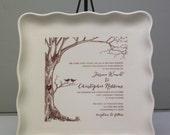 Custom Square Platter with Wedding Invitation Image