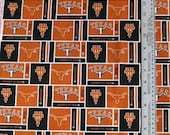 University of Texas Herringbone Collegiate Block Print Fabric