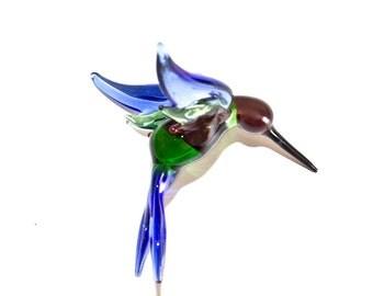 Sapphire Jewel XL Hummingbird Lampwork Glass Ornament
