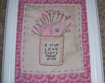 Shabby True Love Story 8X10 Stitchery