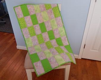 Green Purple Paisley Crib Quilt