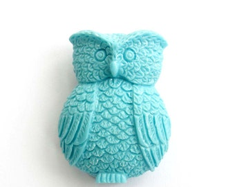 1Pc Cyan Coral Owl Bead Finding 30mm*20mm*11mm  ja601
