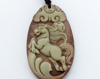 Chinese Zodiac Fortune Horse Talisman Pendant Two Layer Natural Stone 40mm*24mm  ZP061