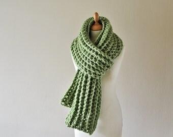 Chunky Crochet Scarf - Extra Long Scarf - Women's Green Scarf -