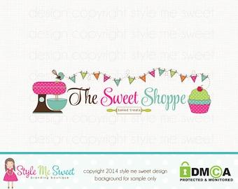 baking logo bakers logo bakery logo cupcake logo bunting logo mixer logo design boutique logo bespoke logo premade logo cake logo design