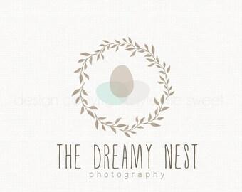 Nest Logo Design Leaf Frame Logo Design Photography Logo Design Photographer logo Doula Logo Photography Prop Logo Small Business Logo