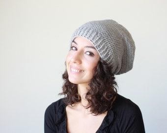 Grey Winter hat, Grey Crochet Hat for Women, Grey Slouch Hat, winter trend slouch hat women, slouch Grey hat womens