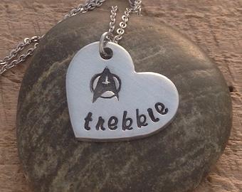 """Star Trek inspired hand stamped """"Trekkie"""" heart necklace"""