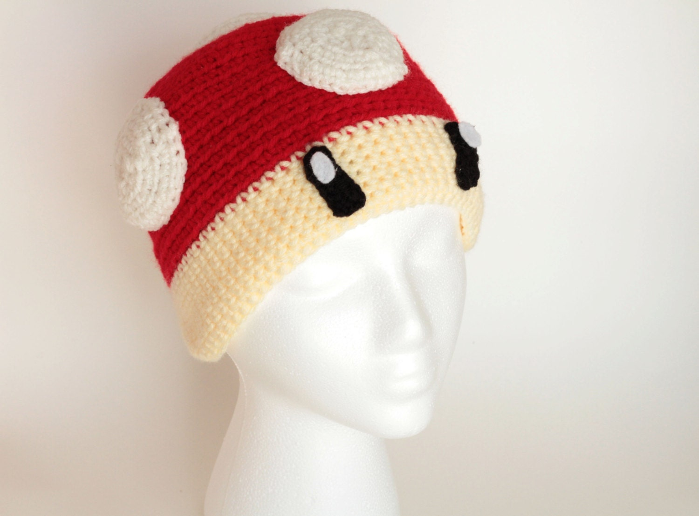 Crochet Pattern Mario Hat : Super Mario Mushroom Toad Crochet Beanie Hat