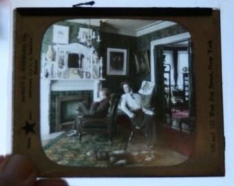"1908 Amusing DeWitt Wheeler Antique glass slide magic lantern ""Glad I'm Married"" hand colored"