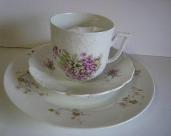 Violets Moustache Mug, Saucer and Plate Set