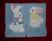Set of Easter Hand Towels Bathroom or Kitchen Courting Easter Bunnies on Blue