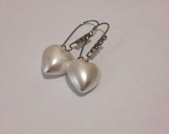 Puffed White Heart Earrings On Rhinestone Elonated Ear Wires