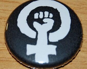 Feminist Fist Button Badge 25mm / 1 inch Feminism Riot Grrl