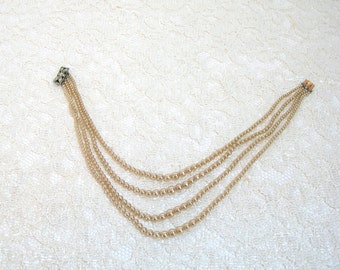 Vintage Faux Pearls - Imitation Pearls - Multistrand With Rhinestone Clasp