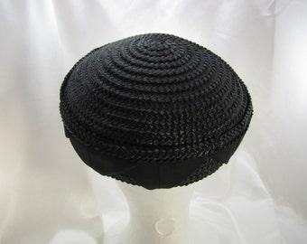 Vintage Designer Hat Millinery Black Hat Straw Hat Costume