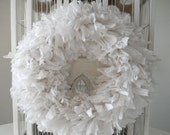 white rag wreath fabric wreath wedding decor cottage chic wreath country chic door wreath wedding wreath rustic decor 15 inch made to order