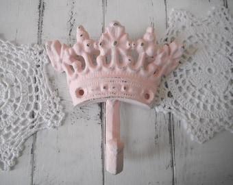 light pink hook coat hook wall hook nursery decor cottage chic shabby decor tiara hook light pink crown decor jewelry hanger