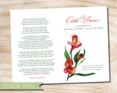 "Red Lilies Floral Funeral or Memorial Program - Bulletin - Order of Service, 8.5"" x 11"" or A4 - printable design file"