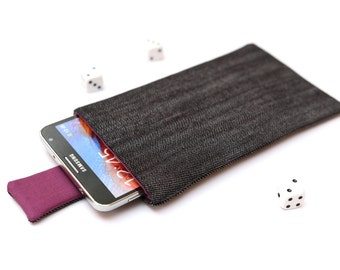 Galaxy Note 5, 4, Edge, 3 sleeve case cover pouch handmade with magnetic closure dark jeans and purple