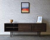 Kasse TV Stand - Solid Maple - Dark Walnut Stain - custom for Leo