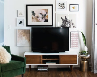 Kasse TV Stand in White / Teak combo