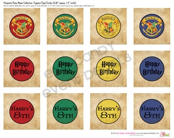 Harry Potter Birthday - Hogwarts Birthday - Harry Potter Inspired Decor -PRINTABLE Party TOPPERS - Hogwarts Birthday Party - custom decor