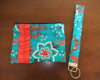 Country Teal and Red Ruffle Purse and Keychain