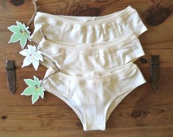 3x Organic Cotton & Hemp Cheeky Briefs Women's Underwear