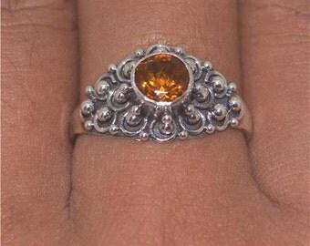 Size 7.5 Citrine 925 Sterling Silver Ring Bali Designer Unique E389