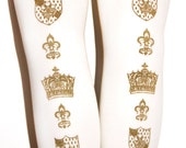 XL Crown Printed Tights Extra Large Plus Size Gold on White Royal Victorian Steampunk Medieval Fleur de Lis Hime Lolita