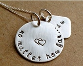 Silver Deployment Necklace - Long Distance - Hand Stamped