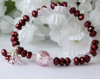 Bordeaux Rose Bracelet, Strand Bracelet, Beadwork Bracelet, Stretch Bracelet, Beaded Bracelet, Birthday, Bridal Jewelry, Holiday Bracelet