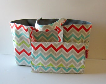 MADE TO ORDER Chevron Diaper Bag Set, with Waterproof lining, Convertable Changing pad/Clutch, monogrammed