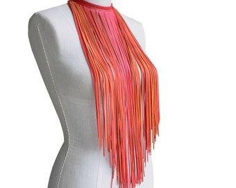 Leather Fringe Necklace or Scarf, Bohemian Necklace , Long fringe Necklace, Fringe Choker, Orange Salmon, in stock