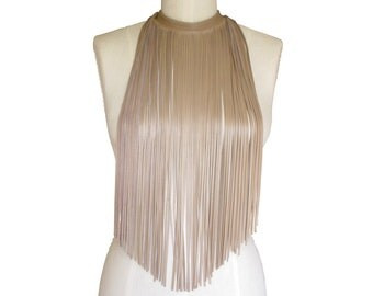 Long Latte Leather Fringe Necklace or Scarf, Buff Beige or Taupe  Leather fringe choker , made to order