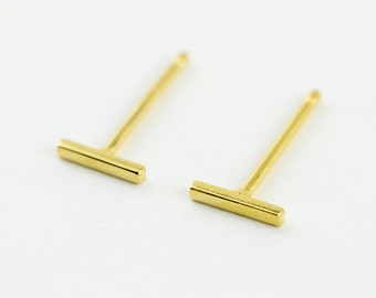 Gold Bar Stud Earrings, Yellow Gold Shiny, Bar Post Earrings, Line Earrings, Small Earrings, Minimalist, Modern, Gift for her, STD032