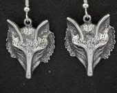 Sterling Silver Fox Head Earrings on Heavy Sterling Silver French Wires