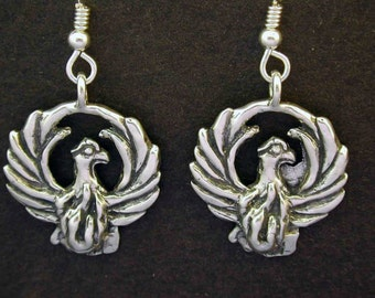 Sterling Silver Original Phoenix Earrings on Heavy Sterling Silver French Wires