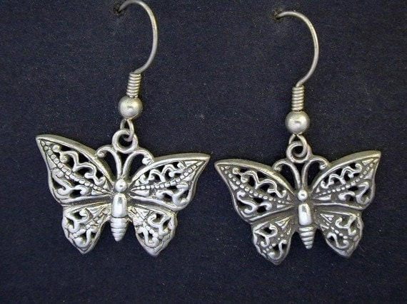 Sterling Silver Butterfly Earrings on Sterling Silver French Wires