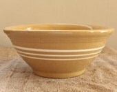 Antique Yellow Ware Mixing Bowl 3 Thin Bands Excellent Condition