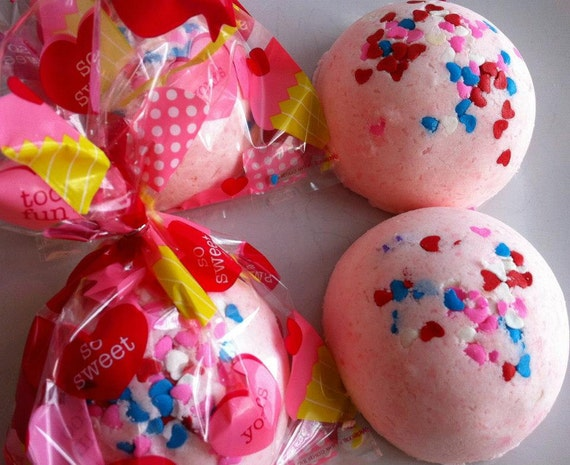 Valentine's Day SURPRISE BATH CANDY - Lush Fizzy Bomb with Heart Soap and Toy! Wrapped and Ready for Gift Giving, Party Favor